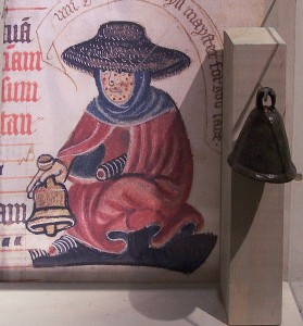 Leper's bell, with image of a mediaeval leper