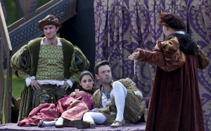 Wantonness (Ewan Donald), Sensualitie (Ruth Milne), King Humanitie (James Mackenzie) and Solace (Callum Robertson) in 'A Satire of the Three Estates' (Reproduced with permission of Enthuse TV: Picture Drew Farrell )