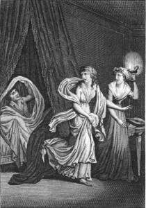 Illustration from a French edition of Ann Radcliffe's 'The Mysteries of Udolpho'
